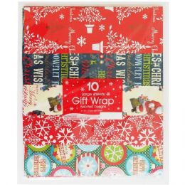 10 Pack of 50 x 70 cm Large Sheets of Christmas Xmas Present Wrapping Paper